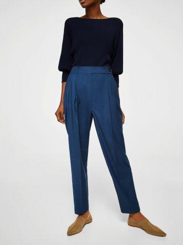 מכנסיים עם מותן גבוהה וכיווצים