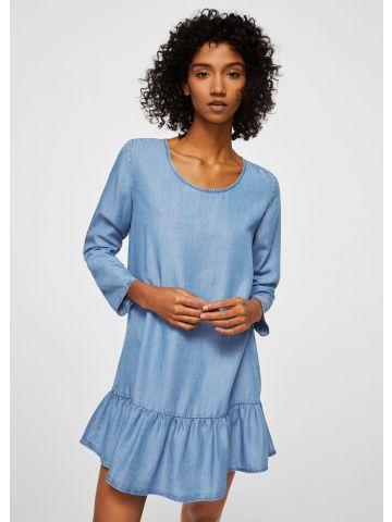 שמלת מיני דמוי ג'ינס עם סיומת פפלום