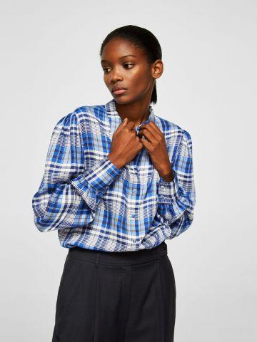 חולצה מכופתרת עם הדפס ושרוולים רחבים