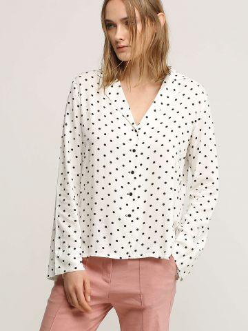 חולצה מכופתרת בהדפס נקודות