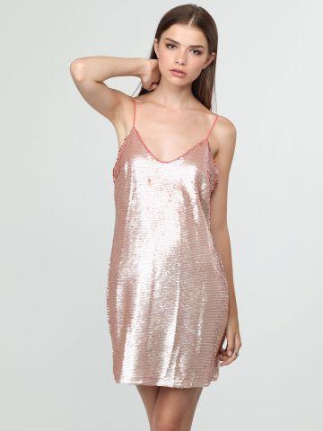 שמלת מיני פאייטים עם כתפיות דקות