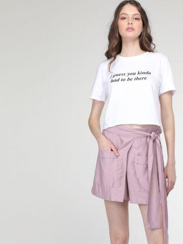 מכנסי חצאית עם חגורת קשירה