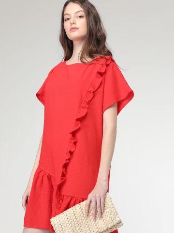 שמלת מיני עם עיטורי מלמלה וסיומת פפלום