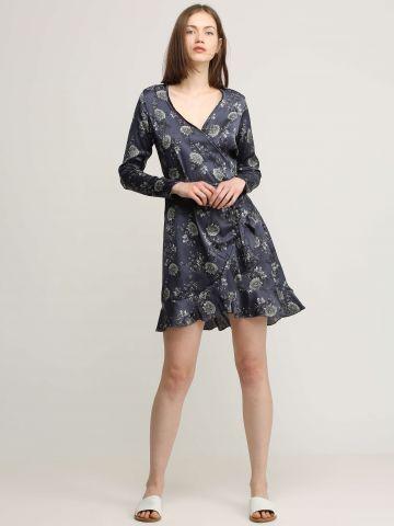 שמלת מעטפת בהדפס פרחים