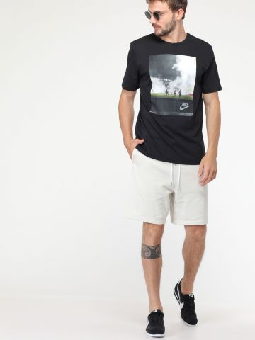 מכנסי טרנינג קצרים בשילוב ניילון