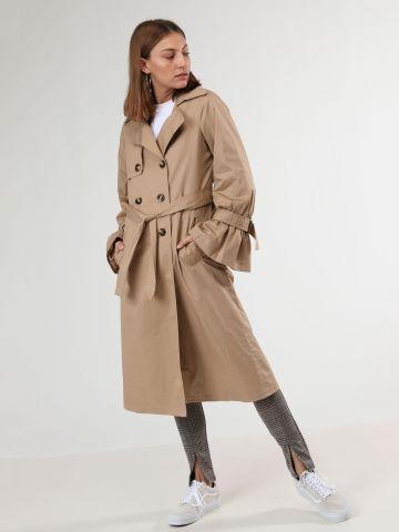 מעיל טרנץ' עם רכיסה כפולה וחגורת קשירה
