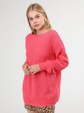 סוודר אוברסייז גב פתוח
