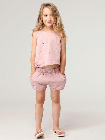 סט גופייה ומכנסיים בהדפס כתמי צבע