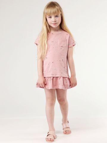שמלת מלמלה בהדפס כתמי צבע