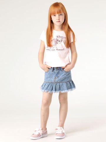 חצאית ג'ינס כתמי צבע