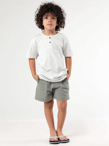 מכנסי סריג ברמודה חלקים