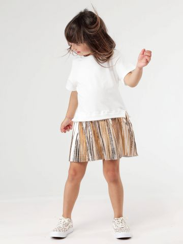 שמלת תחתית פליסה בגוון מטאלי
