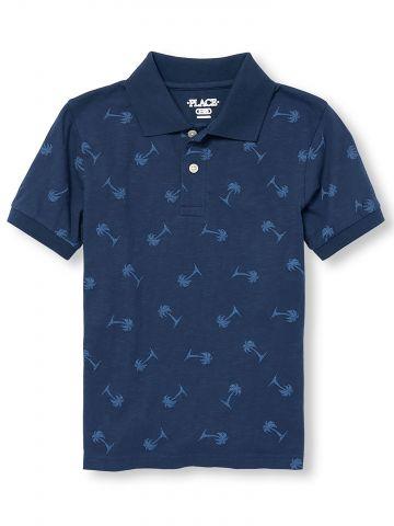 חולצת פולו בהדפס דקלים