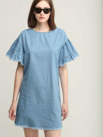 שמלת ג'ינס מיני עם שרוולי מלמלה
