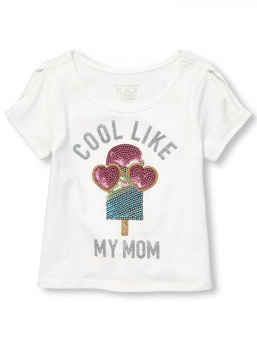 טי שירט פאייטים Cool Like My Mom