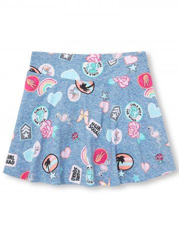 חצאית מכנסיים בהדפס ציורי פאצ'ים