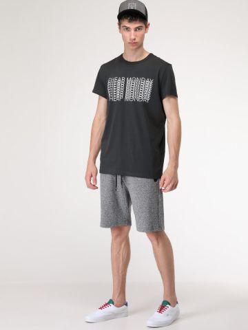 מכנסי טרנינג ברמודה עם כיסים נסגרים ברוכסן