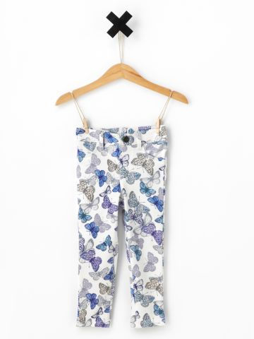 מכנסי דמוי ג'ינס בהדפס פרפרים