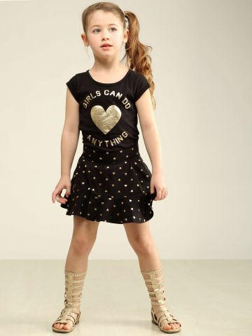 חצאית מיני פפלום בהדפס לבבות