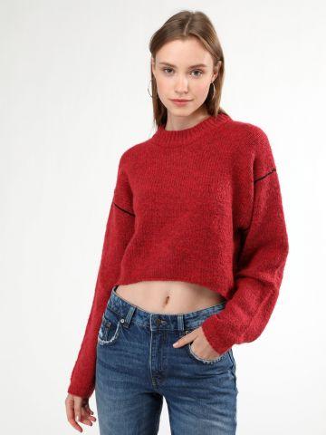 סוודר צמר קרופ בעיטור פס מודגש בשרוולים