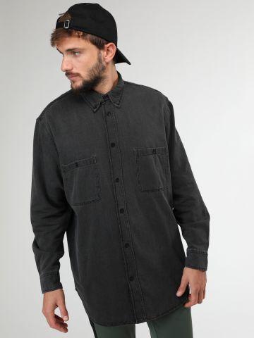 חולצת ג'ינס מכופתרת לונגליין ווש