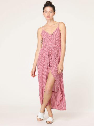 שמלת מקסי משבצות עם שסע עמוק