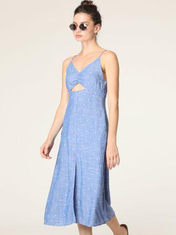 שמלת מידי עם רקמת מעוינים ופתח בחזית