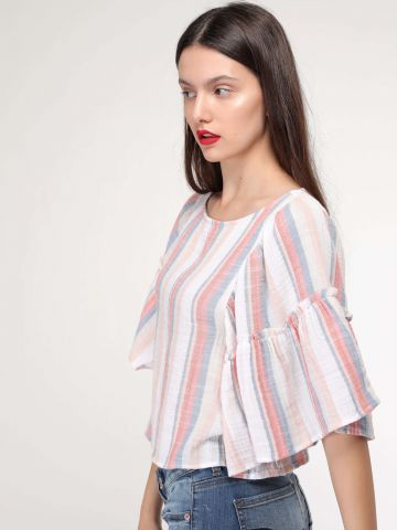 חולצת פסים עם שרוולי פפלום