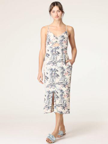 שמלת מידי בהדפס פרחים עם פתח בחזית