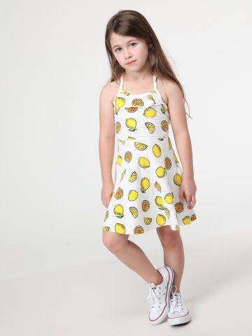 שמלה מתרחבת בהדפס לימונים