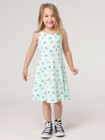 שמלה מתרחבת בהדפס איורים