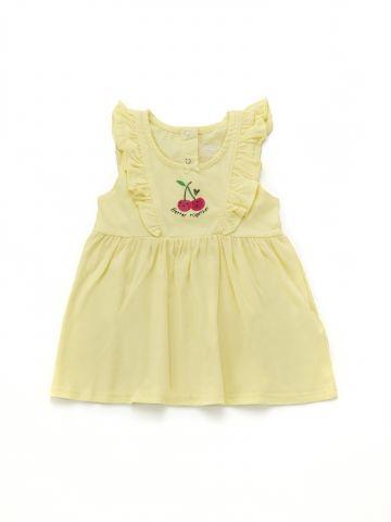 שמלת פפלום בהדפס דובדבנים עם מלמלה