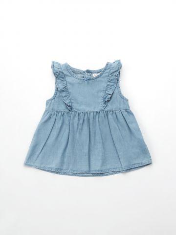 שמלת ג'ינס פפלום עם מלמלה