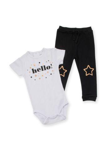 סט בגד גוף ומכנסיים עם הדפס כוכבים מטאלי