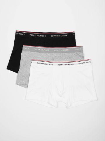 מארז 3 זוגות תחתוני בוקסר מונוכרום עם סטריפ לוגו / גברים