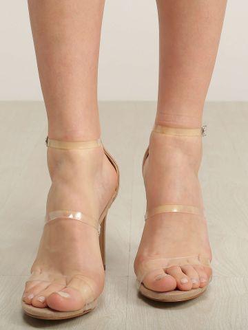 סנדלי עקב סטילטו עם רצועות שקופות