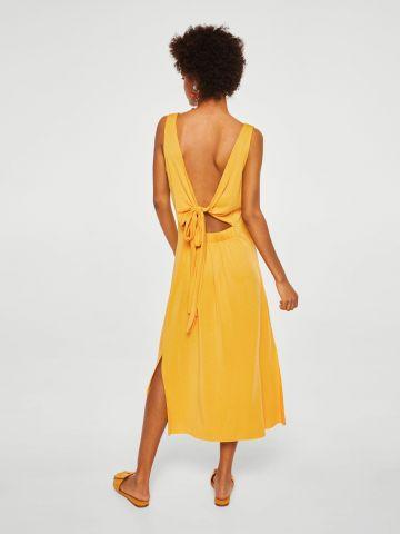 שמלת מידי צמודה עם פפיון בגב
