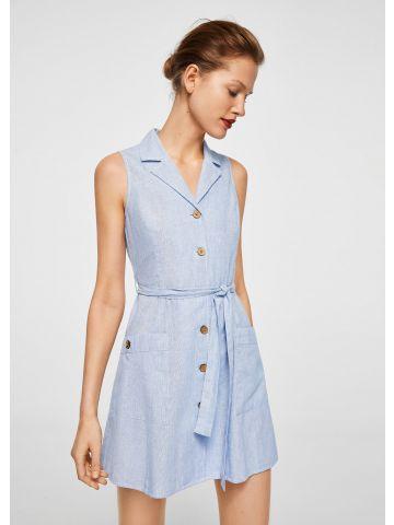 שמלת פשתן מכופתרת עם חגורת קשירה