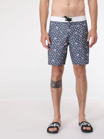 מכנסי בגד ים בהדפס נקודות ופרחים