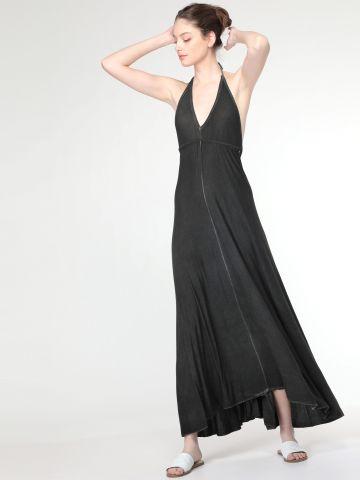 שמלת מקסי עם גב פתוח וקשירה אחורית
