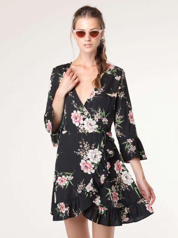 שמלת מעטפת בהדפס פרחים עם עיטורי מלמלה