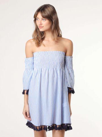 שמלת מיני אוף שולדרס בהדפס פסים ועיטור גדילים