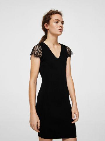 שמלת מיני קלאסית עם כתפיות תחרה