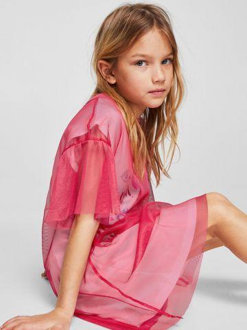 שמלת טי שירט עם הדפס וטול