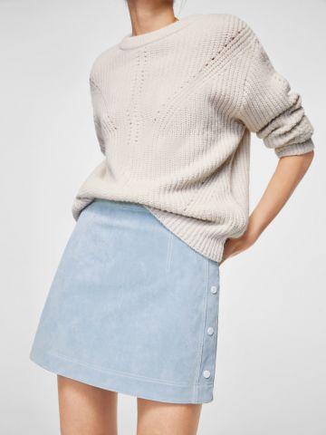 חצאית מיני עם כפתורים בצדדים