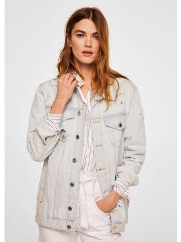 ג'קט ג'ינס אוברסייז עם קרעים