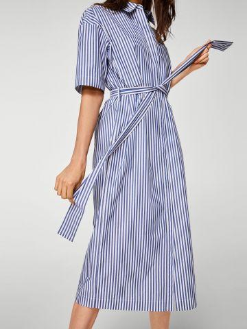 שמלה מכופתרת בהדפס פסים