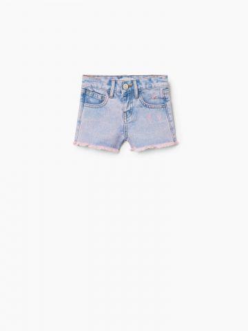 ג'ינס קצר בשטיפה צבעונית משופשפת / בייבי בנות