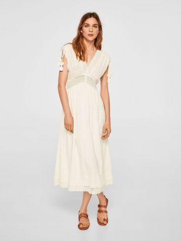 שמלת מקסי עם עיטורי תחרה ופונפונים