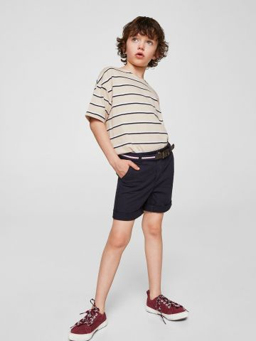 מכנסי צ'ינו קצרים עם חגורה
